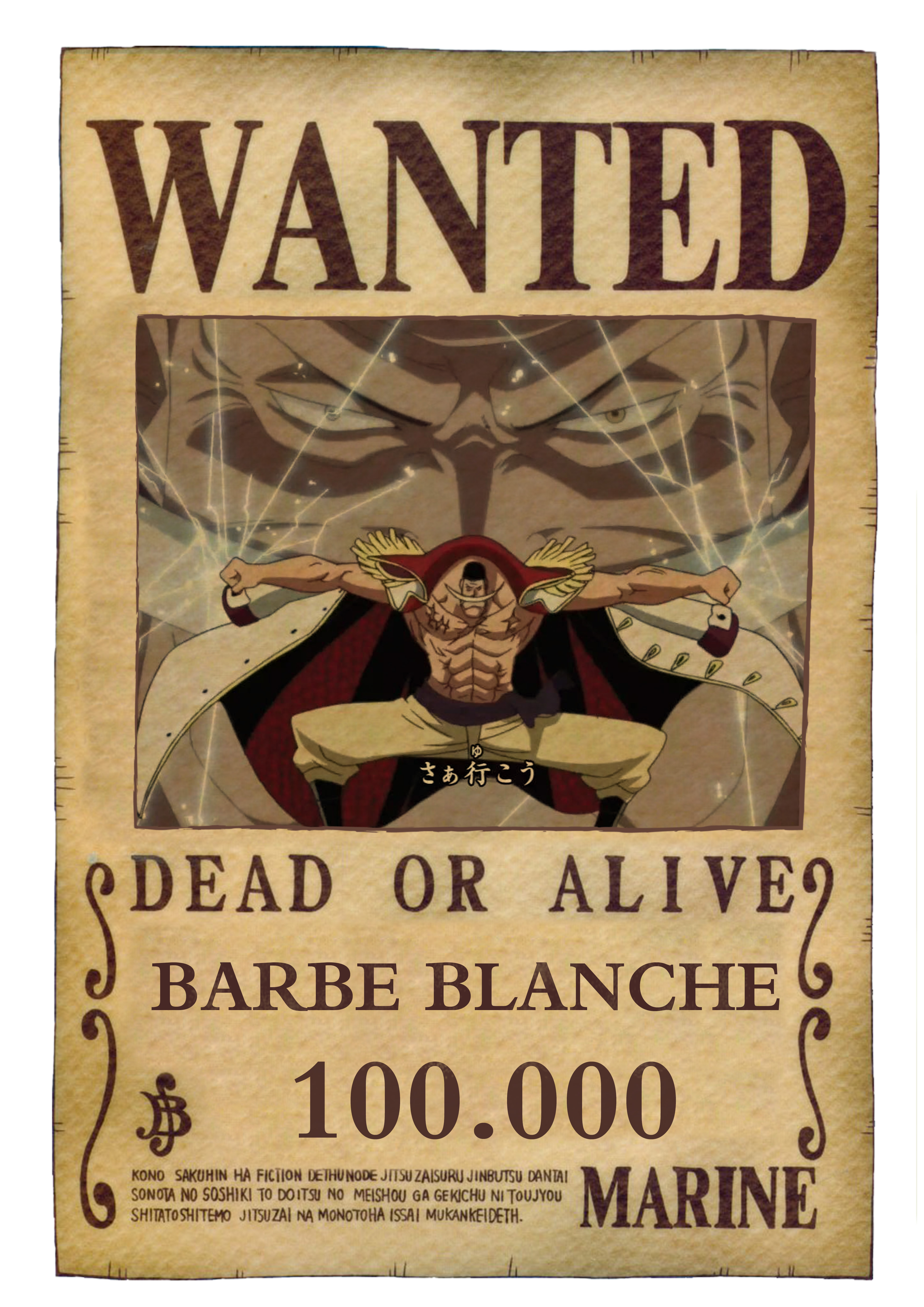 Affiche barbe blanche one piece passion - Affiche wanted one piece ...